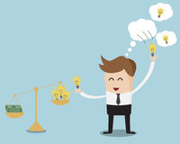 Businessman Pick up Bulb Idea and Weighting On Balance Scale Stock Image