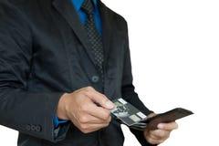 Businessman picking card. Royalty Free Stock Photo