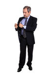 Businessman picking a notebook Stock Photo