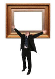 Businessman and Picture frame baget. Collage stock image