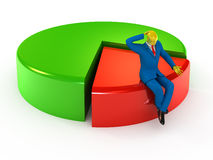 Businessman and pie chart Stock Photos