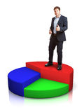 Businessman with pie chart Royalty Free Stock Photos