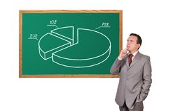 Businessman and pie chart Royalty Free Stock Image