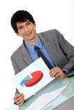 Businessman with a pie chart Stock Images