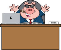 Businessman Pig Cartoon With Sunglasses,Cigar Behind Desk Royalty Free Stock Photo