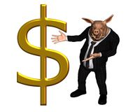 Businessman Pig with large gold dollar sign Royalty Free Stock Photography