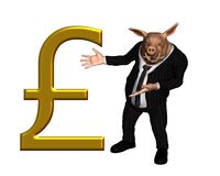 Businessman Pig with large gold pound sterling sig Stock Images