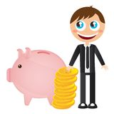 Businessman with piggy Royalty Free Stock Image