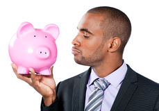 Businessman with piggy bank Royalty Free Stock Photography
