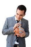 Businessman with the piggy bank Stock Image