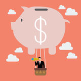 Businessman in piggy bank balloon search to success Royalty Free Stock Image