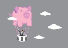 Businessman in Piggy Bank Hot Air Balloon Vector Illustration Stock Photo