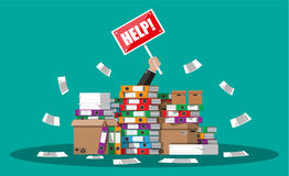 Businessman in pile of office papers Royalty Free Stock Photos