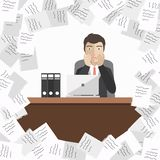 Businessman with pile of paper, business concept. Flat vector illustration Stock Photography