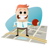 Businessman with pin on city map. Illustration of a businessman with pin on city map Stock Photos