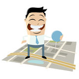 Businessman with pin on directions map Royalty Free Stock Photos