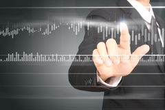 Businessman plan graph growth and increase of chart positive ind Royalty Free Stock Images