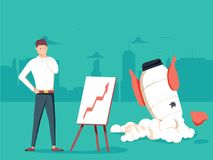 Businessman with plan and rocket crashed. Business failure, the. Rocket fall down. Startup rocket crash. Young unhappy man sad about launching not working Royalty Free Stock Photography