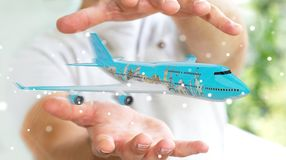 Businessman with plane and famous landmarks of the world 3D rend. Businessman on blurred background with plane and famous landmarks of the world 3D rendering Royalty Free Stock Images