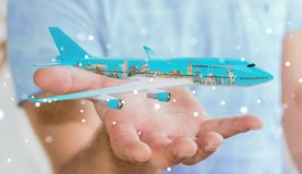Businessman with plane and famous landmarks of the world 3D rend. Businessman on blurred background with plane and famous landmarks of the world 3D rendering Royalty Free Stock Photography