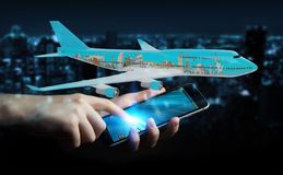 Businessman with plane and famous landmarks of the world 3D rend. Businessman on blurred background with plane and famous landmarks of the world 3D rendering Stock Image