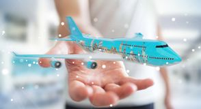 Businessman with plane and famous landmarks of the world 3D rend. Businessman on blurred background with plane and famous landmarks of the world 3D rendering Stock Images