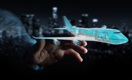 Businessman with plane and famous landmarks of the world 3D rend. Businessman on blurred background with plane and famous landmarks of the world 3D rendering Royalty Free Stock Photos