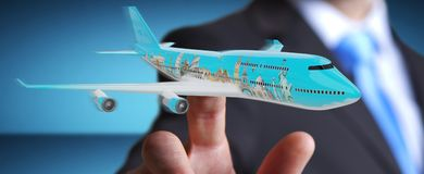 Businessman with plane and famous landmarks of the world 3D rend. Businessman on blurred background with plane and famous landmarks of the world 3D rendering Stock Photos