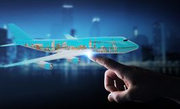 Businessman with plane and famous landmarks of the world 3D rend. Businessman on blurred background with plane and famous landmarks of the world 3D rendering Royalty Free Stock Image