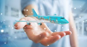 Businessman with plane and famous landmarks of the world 3D rend. Businessman on blurred background with plane and famous landmarks of the world 3D rendering Stock Photography