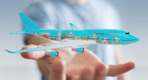 Businessman with plane and famous landmarks of the world 3D rend. Businessman on blurred background with plane and famous landmarks of the world 3D rendering Stock Photo