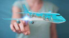 Businessman with plane and famous landmarks of the world 3D rend. Businesswoman on blurred background with plane and famous landmarks of the world 3D rendering Stock Photo