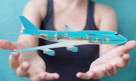 Businessman with plane and famous landmarks of the world 3D rend. Businesswoman on blurred background with plane and famous landmarks of the world 3D rendering Stock Image