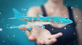 Businessman with plane and famous landmarks of the world 3D rend. Businesswoman on blurred background with plane and famous landmarks of the world 3D rendering Royalty Free Stock Photos