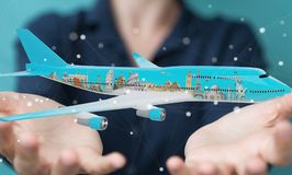 Businessman with plane and famous landmarks of the world 3D rend. Businesswoman on blurred background with plane and famous landmarks of the world 3D rendering Royalty Free Stock Photo