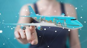 Businessman with plane and famous landmarks of the world 3D rend. Businesswoman on blurred background with plane and famous landmarks of the world 3D rendering Royalty Free Stock Photography