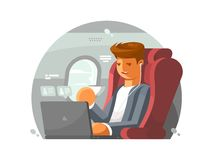 Businessman on plane. Man in first class with laptop. Vector illustration Stock Images