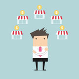 Businessman planing franchise business. Vector illustration Royalty Free Stock Photography