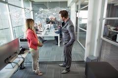 Businessman planning idea with businesswomen stock photos