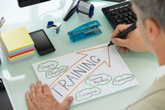 Businessman planning training strategy. Close-up Of Businessman Planning Training Strategy On Paper. Diagram was created by photographer Royalty Free Stock Photos