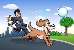 Businessman play with his dog Royalty Free Stock Photo