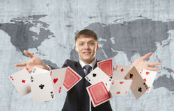 Businessman playing with cards Royalty Free Stock Photo