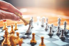 Businessman playing chess Plan of leading strategy successful bu Royalty Free Stock Images
