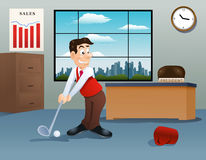 businessman playing golf on office Royalty Free Stock Image