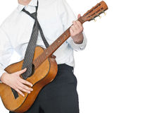 Businessman playing guitar Royalty Free Stock Image