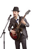 Businessman playing the guitar Royalty Free Stock Images
