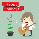 Businessman is playing a guitar, flower, happy holidays Stock Photography