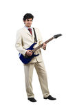 Businessman playing guitar. Full length of young businessman playing guitar on white background royalty free stock images