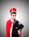 Businessman playing king isolated on white Royalty Free Stock Photography