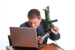 Businessman playing on laptop Royalty Free Stock Photo